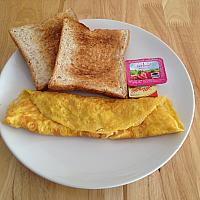 Cheese & Onion Omelette with Toast