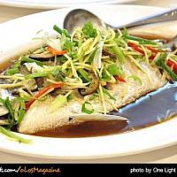 Steamed snapper with plum sauce