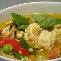 Sweet green curry and basil leaf and shrimps