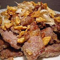 Venison fried with garlic