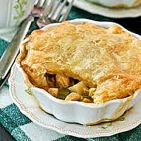 Chicken and Blue Chees Pie, Chicken and Mushroom Pie or Chicken Bacon and Mushroom