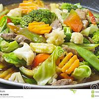 Vegetable plate with boiled potatoes