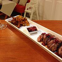 Duck breast & raspberies with sauteed potatoes