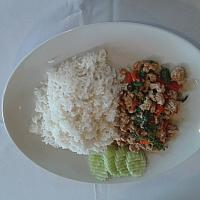pad kra pao and steam rice
