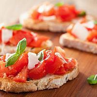 Bruschetta tomato and mozzarella cheese