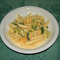 Penne gamberi e zucchine