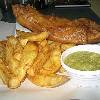 Fish'n'Chips served with Mushy Peas