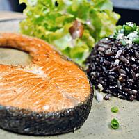 Salmon steak with garlic rice