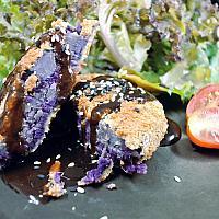 Fried Purple potato with salad