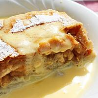 Apple cake with vanilla sauce