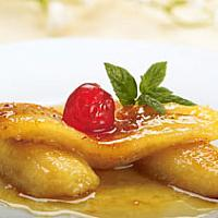 Fried banana with honey