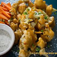 Cauliflower in Beer Batter with Sauce