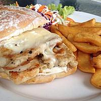Chicken Breast Burger and fries