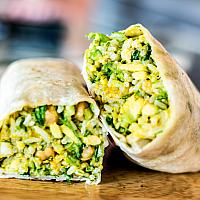 Vegetarian burrito with avocado