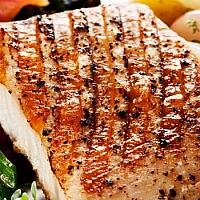 Grilled king mackerel. garlic-butter sauce. herb mash