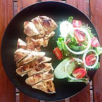 Chicken Breast Grilled, Served with Salad