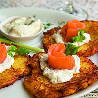 Draniki with salmon  (Potato Fritters)