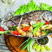 Baked whole fish in owen