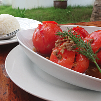 Opa stuffed Tomatoes with minced Pork