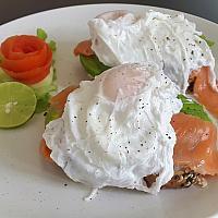 Smoked salmon with avocado poached eggs