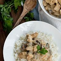 Chicken Mushroom Cream Sauce with Rice