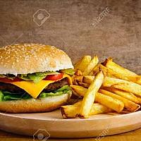 Cheeseburger beef with french fries