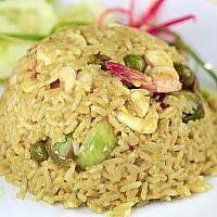 Green Curry Fried Rice + Prawn & Vegetable - жареный рис с креветками - 咖喱鲜虾炒饭