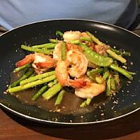 Stir-Fried Asparagus + Prawn - Стир-фрай из спаржи с креветками - 蘆筍煎蝦