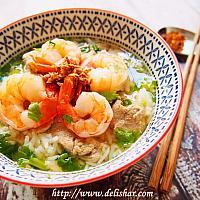 Prawns rice soup