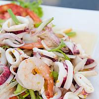 Yum Talay (Spicy thai seafood salad)