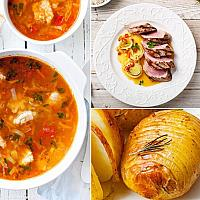 Set. Tomato Soup with fish + Pork tenderloin with vegetables in orange-ginger sauce+ Baked Potatoes (Hasselback potatoes)