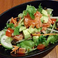 Salmon Avocado Salad with Wasabi dressing