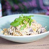 Pasta with truffle sauce, mushrooms and parmesan cheese