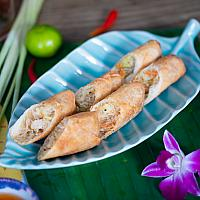Spring rolls with chicken and vegetables