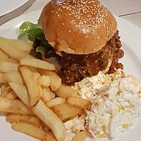 250g Chilli Cheese Burger, including a choice of sides.