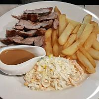 Pork Tenderloin 300g inc apple sauce & a choice of sides.