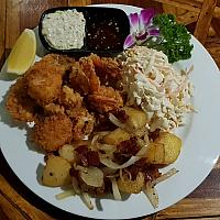 Lightly battered mixed seafood delight inc a choice of sides. (King Prawns, Scallops, Squid, Baramundi)