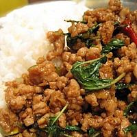 rice topped with stir-fried pork or chicken and basil