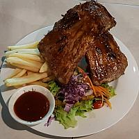 Full rack of BBQ ribs inc sides