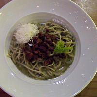 spaghetti pesto beef sweet basil