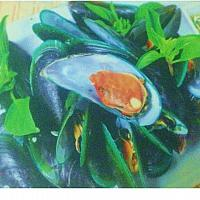 ฺBaked Mussel with Sweet Basil leave