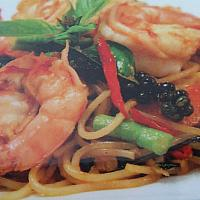 stir fried spicy spaghetti seafood
