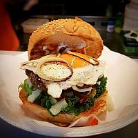 beef burger with egg or cheese