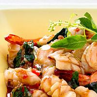 Fried basil seafood