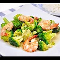 Fried Broccoli seafood with Oyster Sauce