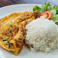 Thai omelette over rice