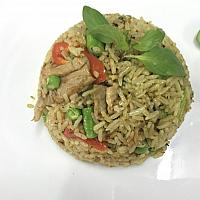 Stir fried rice with red curry past with pork or chicken