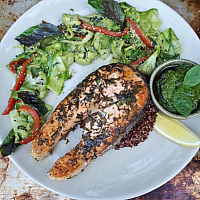 Salmon Steak& Pesto Vegetables