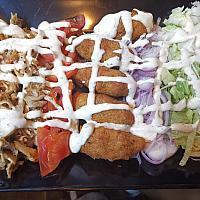 Falafel, chicken kebab plate