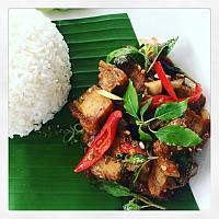 Stirfry crispy pork with basil leave over rice